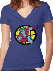 Captain Planet Women's Fitted V-Neck T-Shirt