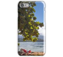 Empty chair on beach iPhone Case/Skin