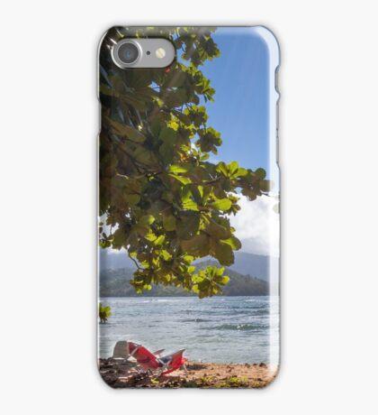Empty chair on beach iPhone Case/Skin
