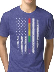Rainbow Thin Line American Flag T-Shirt, Gay Pride Day Shirts Tri-blend T-Shirt