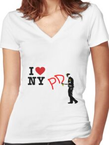 I Love NY (PD) Women's Fitted V-Neck T-Shirt