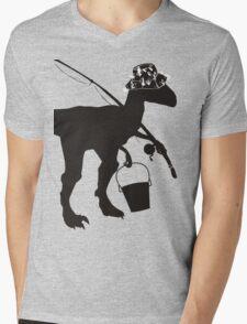 Funny fly fishing dinosaur Mens V-Neck T-Shirt