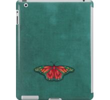 Butterfly in Jewel Colors on Teal Linen iPad Case/Skin