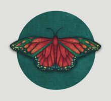 Butterfly in Jewel Colors on Teal Linen T-Shirt