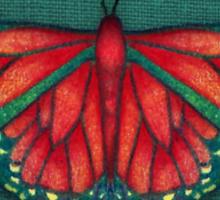 Butterfly in Jewel Colors on Teal Linen Sticker