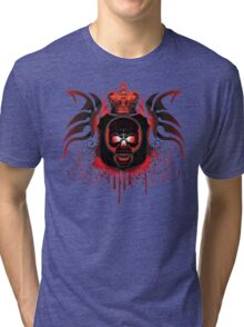 Red Gothic Skull With Crown And Blood Tri-blend T-Shirt