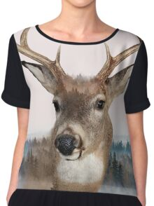 Whitetail Deer Double Exposure Chiffon Top