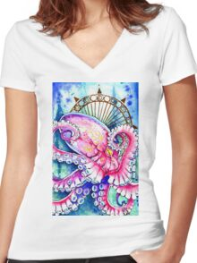 Watercolor Octopus Women's Fitted V-Neck T-Shirt