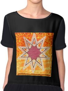 Cherry Wood 10 Point Star on Flaming Background Chiffon Top