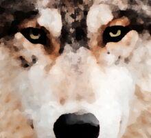 Green Eyed  Wolf Sticker