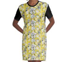Black white on yellow Graphic T-Shirt Dress