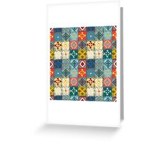 Boho Patchwork Quilt Pattern Greeting Card