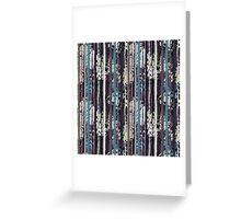 Blue, Black & White Boho Vertical Striped Pattern Greeting Card