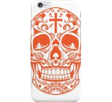 Sugar Skull, Day Of the Dead, Halloween Orange SugarSkull iPhone Case/Skin