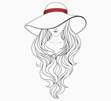 Girl with Long Hair and Hat  One Piece - Short Sleeve