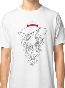 Girl with Long Hair and Hat  Classic T-Shirt