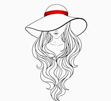 Girl with Long Hair and Hat  Womens Fitted T-Shirt