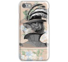 Peach Victorian Woman Riding Hat iPhone Case/Skin