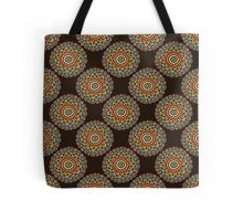 Colorful seamless flower pattern. Boho style doodle brown background.  Tote Bag