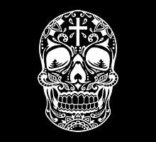 Sugar Skull, Day Of the Dead, Halloween White SugarSkull by Carolina Swagger
