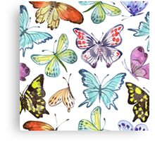 Watercolor Butterfly Pattern Canvas Print
