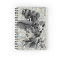 Victorian Woman Feather Hat Flowers Spiral Notebook