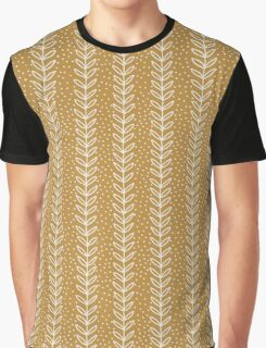 Simple terracotta leaf pattern. Hand drawn seamless eco background.  Graphic T-Shirt