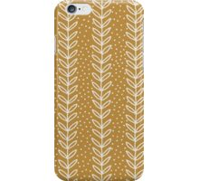 Simple terracotta leaf pattern. Hand drawn seamless eco background.  iPhone Case/Skin