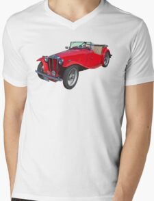 Red MG Convertible Antique Car Mens V-Neck T-Shirt