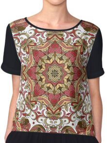 Red & Green Boho Geometric Pattern Chiffon Top