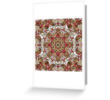 Red & Green Boho Geometric Pattern Greeting Card