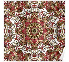 Red & Green Boho Geometric Pattern Poster