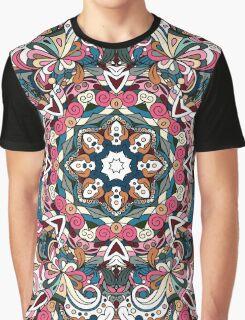 Blue, White & Red Boho Mandela Pattern Graphic T-Shirt