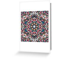 Blue, White & Red Boho Mandela Pattern Greeting Card