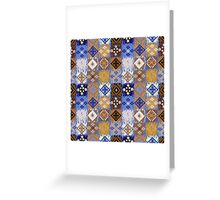 Blue & Gold Boho Patchwork Pattern Greeting Card
