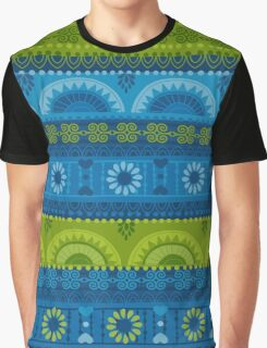 Green & Blue Boho Geometric Pattern Graphic T-Shirt
