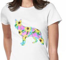 German Shepherd Watercolor Sunflowers Womens Fitted T-Shirt