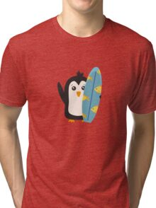 Surfboard Penguin   Tri-blend T-Shirt