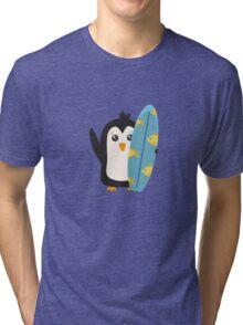 Surfboard Penguin   Tri-blend T-Shirt