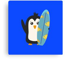 Surfboard Penguin   Canvas Print