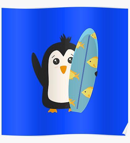 Surfboard Penguin   Poster