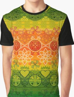 Green, Yellow & Orange Boho Geometric Pattern Graphic T-Shirt