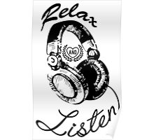 Music Relax and Listen Headphone Graphic Poster