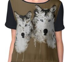 Painted Arctic Wolves Chiffon Top