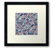 Pink & Blue Boho Patchwork Pattern Framed Print