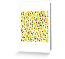 Summer pattern with flowers and butterflies Greeting Card