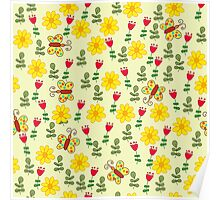 Summer pattern with flowers and butterflies Poster