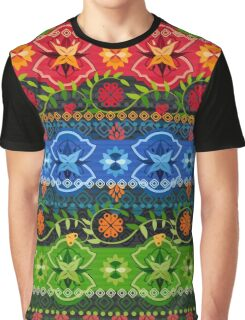Blue, Green & Red Boho Geometric Pattern Graphic T-Shirt