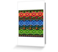 Blue, Green & Red Boho Geometric Pattern Greeting Card