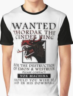 WANTED: Thordak the Cinder King - Critical Role Fan Design Graphic T-Shirt